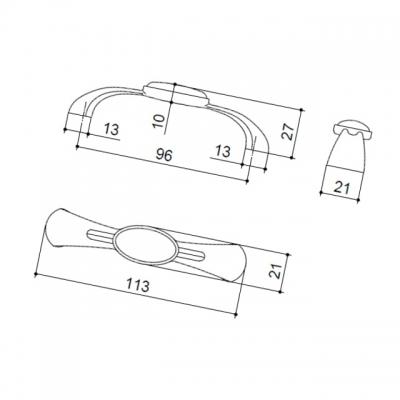 Ручка-скоба 96мм, отделка бронза старая + керамика 686C6