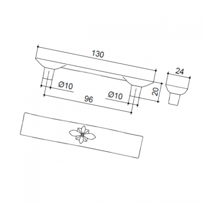 Ручка-скоба 96мм, отделка бронза матовая 2406C