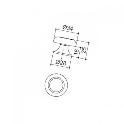Ручка-кнопка, отделка бронза шлифованная 06815
