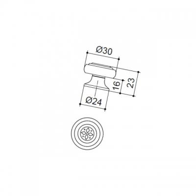Ручка-кнопка, отделка бронза 09306