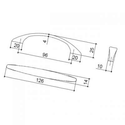 Ручка-скоба 96мм, отделка бронза шлифованная 50615