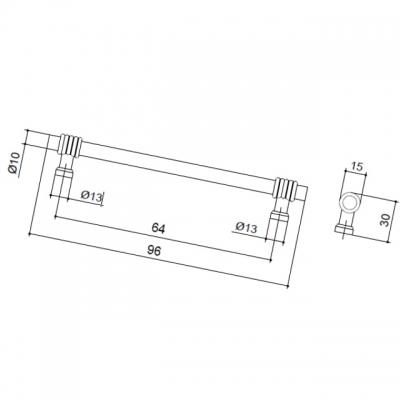 Ручка-скоба 64 мм, отделка античное железо 47000.53
