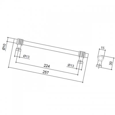 Ручка-скоба 224 мм, отделка старая бронза 47104.22
