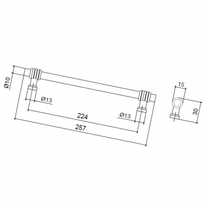 Ручка-скоба 224 мм, отделка античное железо 47104.53