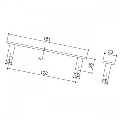 Ручка-скоба 128мм, отделка хром матовый 4949.07
