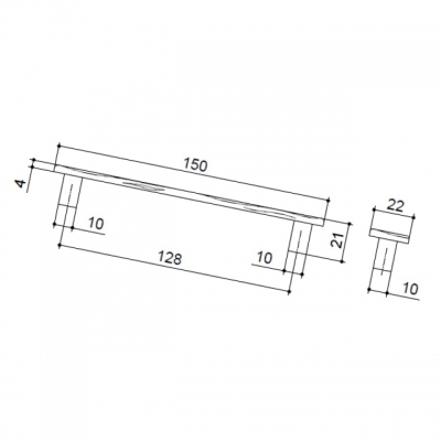 Ручка-скоба 128мм, отделка старая бронза 4959.22