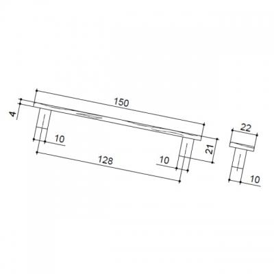 Ручка-скоба 128мм, отделка античное железо 4959.53