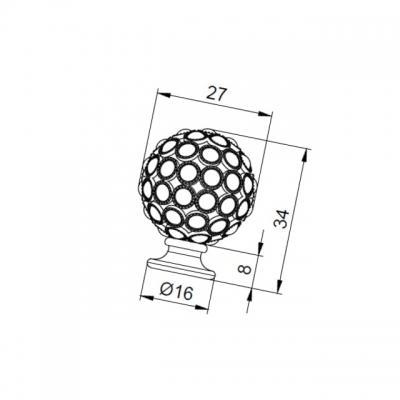 Ручка-кнопка, отделка никель вороненый + горный хрусталь MOB.472/CF/CRY