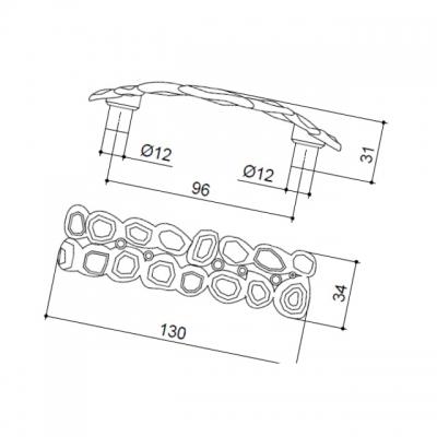 Ручка-скоба 96мм, отделка никель + горный хрусталь MOB.570/NK/JET