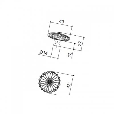 Ручка-кнопка, отделка никель + горный хрусталь MOB.590/NK/CRY