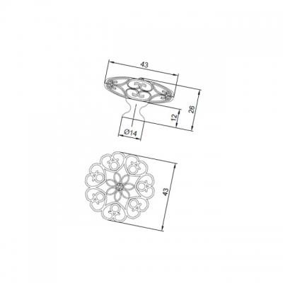 Ручка-кнопка, отделка золото MOB.594/O/CRY