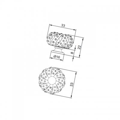 Ручка-кнопка, отделка никель + горный хрусталь MOB.595/NK/CRY