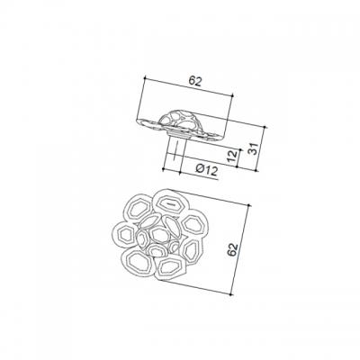 Ручка-кнопка, отделка золото + горный хрусталь MOB.609/O/JET