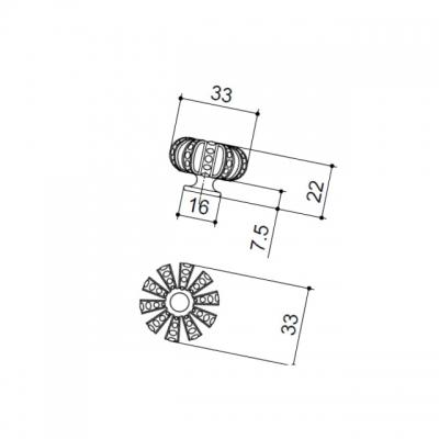 Ручка-кнопка, отделка золото + горный хрусталь MOB.611/O/CRY
