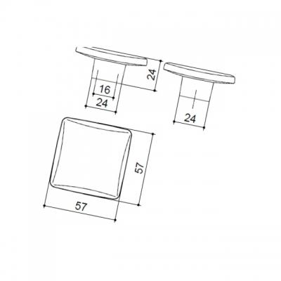 Ручка-кнопка 16мм, отделка хром глянец + дымчато-серая смола 217.359-9603/6602