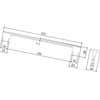Ручка-скоба 192-224мм, отделка хром глянец + дымчато-серая смола 217.374-9603/6602