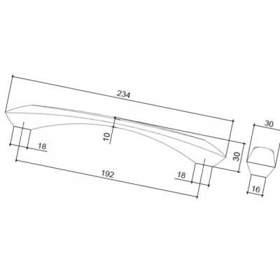 Ручка-скоба 192мм, отделка нержавеющая сталь + чёрный пластик 217.661-2011/9605
