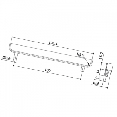 Ручка-скоба врезная 160мм, отделка алюминий 00.1246.ZIE0000002