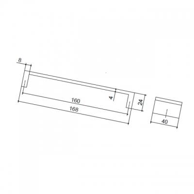 Ручка-скоба 160мм, отделка алюминий AB.004.160.AP