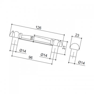M09.01.84.02MM Ручка-скоба 96мм бронза состаренная/керамика фрукты