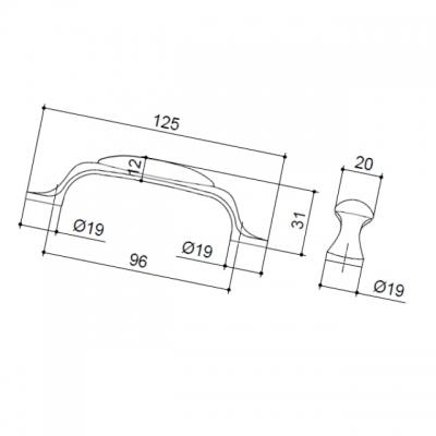 M10.01.69.15MM Ручка-скоба 96мм, отделка серебро старое + керамика