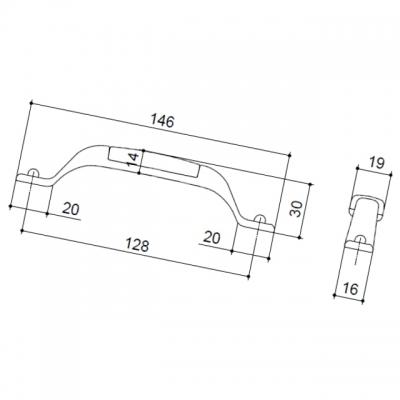 Ручка-скоба 128мм, отделка железо чернёное c декапе + керамика голубая (2 винта М4х22.5 + 2 винта М4х25) M12.15.00.12.M