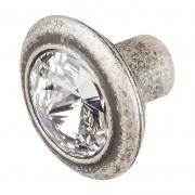 Ручка-кнопка, отделка серебро античное + горный хрусталь 10.778.B17N