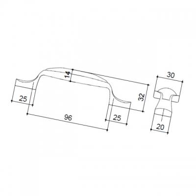 M16.01.25.15MM Ручка-скоба 96мм, отделка серебро старое + керамика