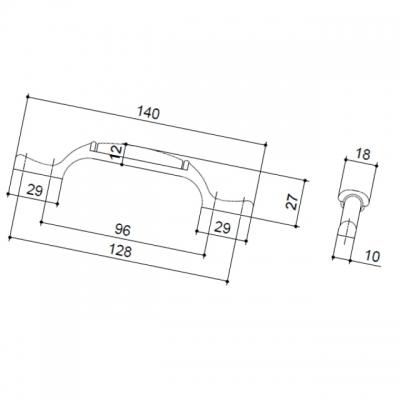 M17.01.122.27MM Ручка-скоба 96-128мм, отделка медь античная + керамика