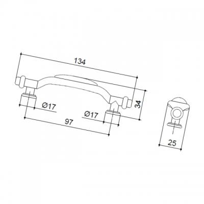 M21.01.97.02MM Ручка-скоба 96мм, отделка бронза старая + керамика