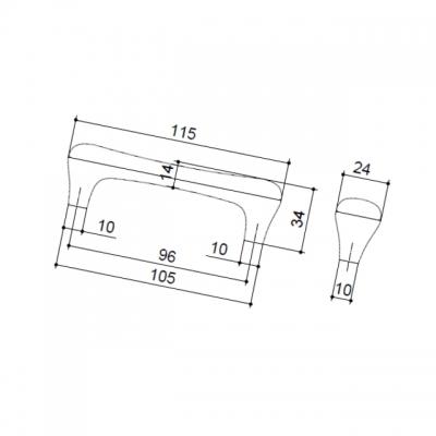 Ручка-скоба 96мм, отделка серебро старое + керамика M24.01.69.15