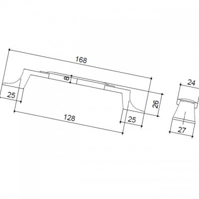 M31.17.185.02 Ручка-скоба 128мм, отделка бронза старая + керамика (2 винта М4х22.5 + 2 винта М4х25) M31.17.185.02.M