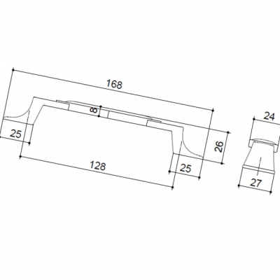 Ручка-скоба 128мм, отделка серебро старое + керамика M31.19.191.15