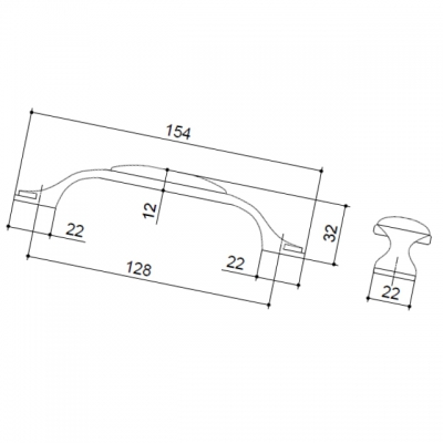 Ручка-скоба 128мм, отделка бронза старая + керамика (2 винта М4х22.5 + 2 винта М4х25) M34.17.173.02