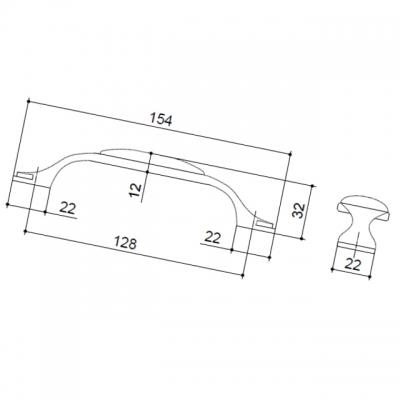 M34.19.174.15MM Ручка-скоба 128мм, отделка серебро старое + керамика