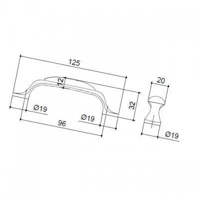 Ручка-скоба 96мм, отделка бронза старая + гравировка MZ.010.C.02-52
