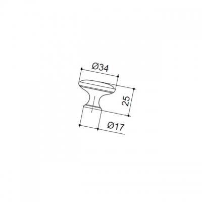 Ручка-кнопка, отделка железо чернёное c декапе + керамика персиковая P07.16.00.12