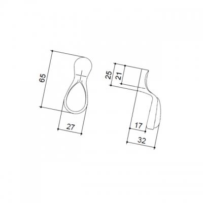 Ручка-серьга, отделка серебро старое + керамика P16.01.145.15