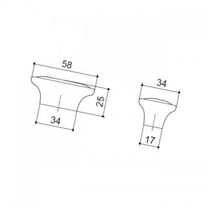 Ручка-кнопка, отделка бронза старая + керамика (1 винт М4х22.5 + 1 винт М4х25) P18.17.173.02.M