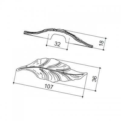 """Ручка-скоба 32мм, отделка бронза """"Валенсия"""" 15078Z032D0.07"""