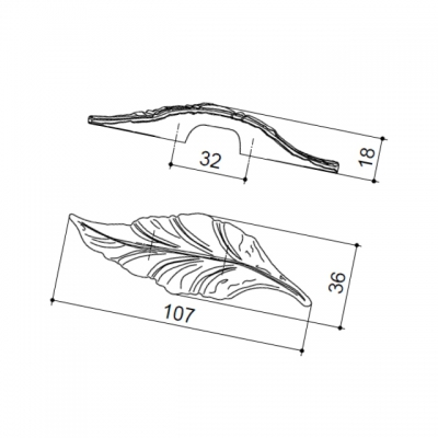 "Ручка-скоба 32мм, отделка бронза ""Валенсия"" 15078Z032S0.07"