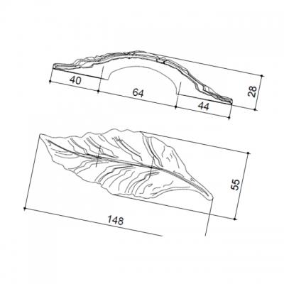 Ручка-скоба 64мм, отделка серебро 15078Z064S0.78