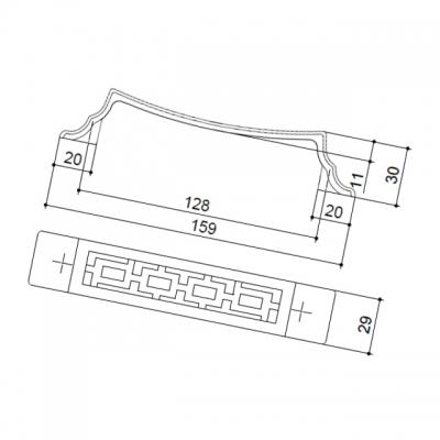 """Ручка-скоба 128мм, отделка бронза """"Флоренция"""" 15086Z1280B.09"""