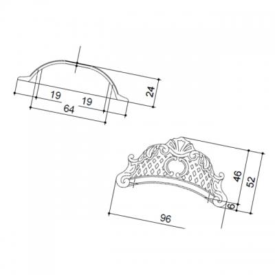 Ручка-скоба 64мм, отделка серебро старое 15133Z09500.25