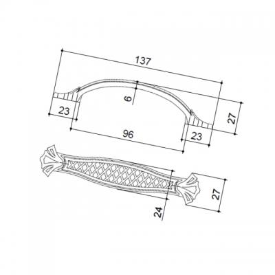 Ручка-скоба 96мм, отделка серебро старое 15133Z09600.25
