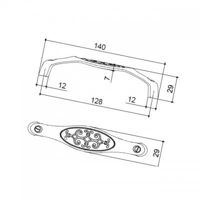 Ручка-скоба 128мм, отделка серебро старое 15134Z12800.25