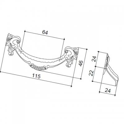 Ручка-скоба 64мм, отделка бронза с красной патиной 15135.11500.54