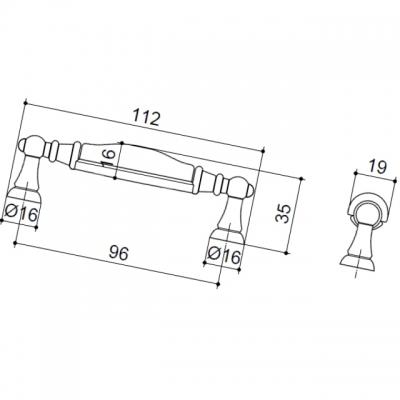 """Ручка-скоба  96мм, отделка бронза """"Валенсия"""" + керамика 15141P0961H.07"""