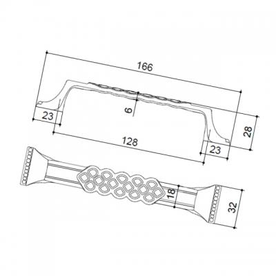 """Ручка-скоба 128мм, отделка бронза """"Флоренция"""" 15146Z12800.09"""