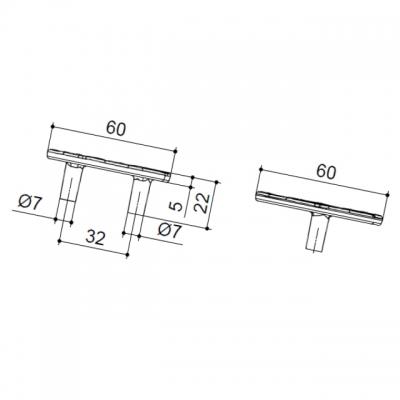 Ручка-скоба 32мм, отделка серебро 15163Z06000.78